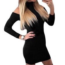 Women Turtleneck Cold Shoulder Long Sleeve Sweater Dress Slim Bodycon Knit Dress