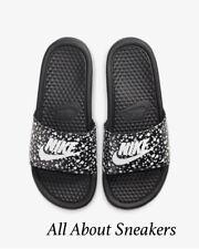"""Nike Benassi JDI Floral """"Black/Black/White"""" Women's Sliders Slippers"""