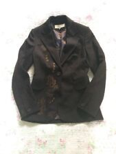 Lux KAREN MILLEN Virgin Wool Chocolate Brown Embroidered Blazer Jacket-size 10.