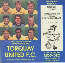 Programma / Programme Torquay United v Red Star Belgrade 21-07-1990 friendly