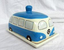 VW Volkswagen Camper Van Ceramic Lidded Butter / Cheese Dish  - Blue - BNWT
