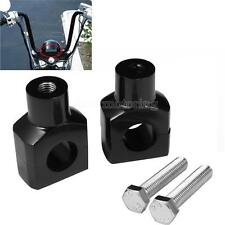 Black Shorty 1'' Handlebar Risers Clamp For Harley Fatboy Dyna Sportster Touring