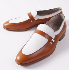 NIB $2390 KITON Brown and White Two-Tone Leather Loafers US 9.5 D Shoes