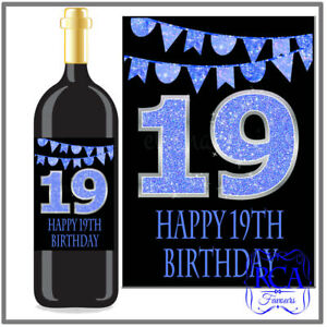 Single Number Birthday Sticker / Bottle Labels to fit wine style (10 designs)