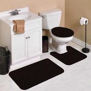 3PC #9 SOFT BATHROOM SET BATH MAT CONTOUR RUG TOILET LID COVER NEW 3 styles