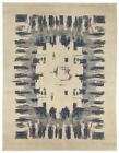 French Art Deco Midcentury Light Green, Blue, Grey and Rose Rug BB5031