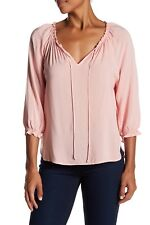 NWT Velvet by Graham & Spencer Kimberly Peasant Blouse ROSEBERRY Pink Size XS