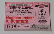 Ticket for collectors World Cup q * Northern Ireland - Denmark 2000 Belfast