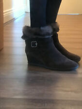 Geox Respira Ankle Boots.Brown Suede.Size 41.Ladies Wedge Boots.Faux Fur.