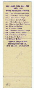 SAN JOSE CITY COLLEGE ~ 1960-61 Matchbook Basketball Schedule ~ FREE SHIPPING