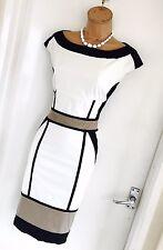 Impresionante Karen Millen Marfil Vestido Lápiz Meneo Bloque De Color Negro UK 10