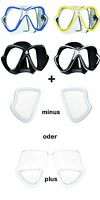 Mares X-Vision Líquido Piel Máscara de Buceo con Ópticos Vasos Positiv y Negativ