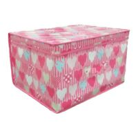 Fold Flat Storage Chest Box With Lid Hearts Design Kids Toys Bedding NEW