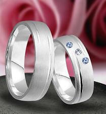 2 Silber 925  Trauringe mit echten Blautopas und echten Diamant & Gravur J66-3BD