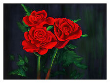 Roses, floral, red, black, green, watercolor abstract, original, gorgeous