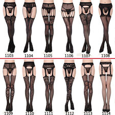 Women Sexy Hollow Out Fishnet Tights Thigh-High Stockings Black Stretch Hosiery