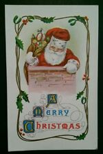 ZA407 Embossed PC Santa Claus Going Down Chimney A Merry Christmas