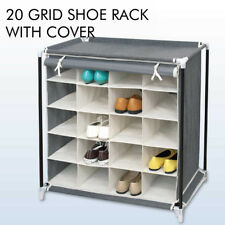 20 grid Shoes Cabinet Storage Organizer Shoe Rack Portable Wardrobe With Cover