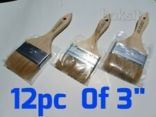 "12 pc 3"" Chip Brush Brushes Paint Glue Touchups 100% Pure Bristle"