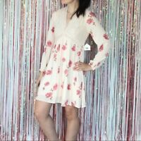 NWT Altar'd State Cream Pink Floral Lace Dress Keyhole Long Sleeve - Small S