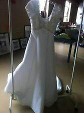 White Satin Beaded A-Line Wedding Gown Dress - Size 8