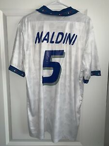 Vintage Maldini 5 Italy 1994 world cup away Jersey soccer - Very Rare-BNWT-2XL