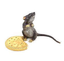XXL Maus mit Biskuit aus Bronze - handbemalte Wiener Bronze - gestempelt
