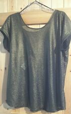 "New By George T Shirt Top Size 18  Chest 44""  In Black & Gold Party Rock Top"