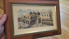 VINTAGE PIAZZA SAN MARCO VENICE VENEZIA ITALY LITHO PRINT BY A.A.K. NY CITY LOOK