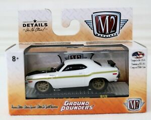 1970 Dodge Challenger RT 1/64 Scale 32500 M2 Ground Pounder White Black Green