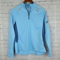 SAUCONY Womens Sz S 1/4 Zip Mock Neck Running Jacket Long Sleeve Athletic Blue