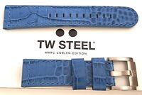 TW STEEL Uhrenband Uhrenarmband Ersatzband 22 mm NEU LEDER BLAU Kroko-Optik 1