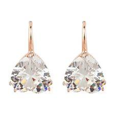 Rose Gold Plated Earrings Heart Crystal Hoop Drop Dangle Women Vintage Gift