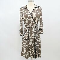 DvF Diane von Furstenberg Wrap Dress Womens 100% Silk Sz 10 Faith Olive Green
