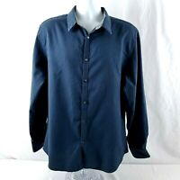 Calvin Klein Mens XL Slim Fit Button Front Long Sleeve Shirt Blue Black Striped