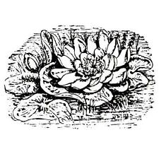 WATER LILY Scene unmounted rubber stamp, Japanese pond, nature, Asian #12