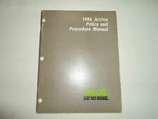 1986 Arctic Cat ARCTCO Policy and Procedure Manual FACTORY OEM BOOK 86 DEAL