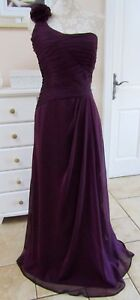 Purple Evening Dress Size 8  Chiffon One Shoulder Ruffle Formal  Wedding Prom