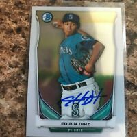 Edwin Diaz Signed 2014 Bowman Chrome Rc Auto Seattle Mariners New York Mets