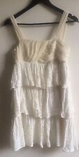 Alice + Olivia Dress 100% Silk cream white Size S UK 8-10