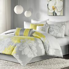 Queen Comforter Set 7-Piece Bed In A Bag 100% Cotton Bedding Grey Yellow Floral