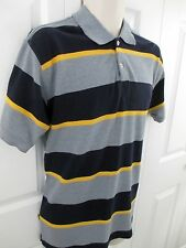 Koman Jeans Sport Polo Shirt Men's Medium M Navy Blue Gray Yellow Cotton Blend