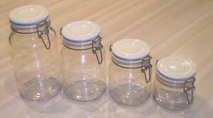 Vintage 1970's Set 4 Anchor Hocking Cream Clamp Top Lid Canister Set MINT