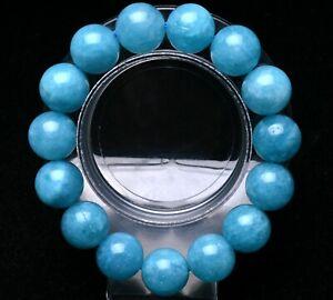14mm Natural Blue Aquamarine Crystal Rough Bracelet Beads Healing