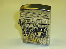 "Old vintage Sterling Silver? Zippo Lighter ""salpicaduras & conducía hombre"" Model 1298"