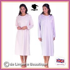 58fd0a06f6 Ladies Long Sleeve Jersey Cuddleknit Brushed Nightdress Nightie Size 10-24