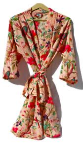 Oversize Cotton Kaftan Caridgan Open Top Kimono Frida Kahlo Bird Bathrobe Beach