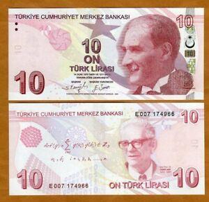 Turkey, 10 Lira 2009 (2021), P-223e, E-Prefix UNC > Mathematician