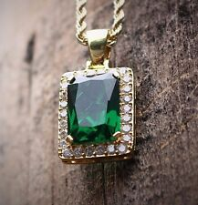 Square Emerald Green Ruby Gem Stone Pendant With Gold Rope Chain Necklace