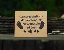 Congratulations On Your New Bundle of Joy! Baby Feet Prints Rubber Stamp 1997